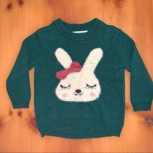 2T 🐰 Dark Green Bunny Sweater 🎀 Old Navy